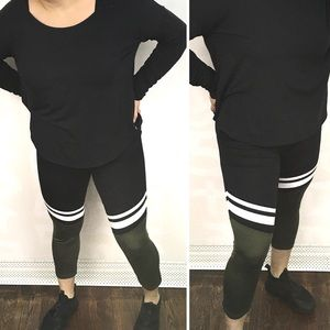 Energie color blocked sporty striped gym leggings